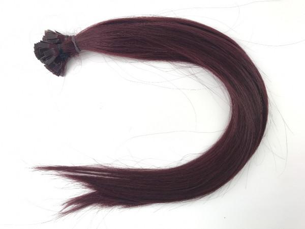 Sibirische Keratin Extensions - glatt - Farbe 36 - dunkles granatrot