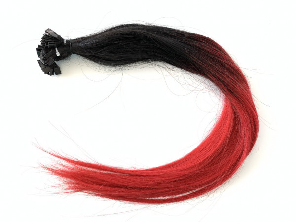 Asiatische Schnitthaar Extensions - glatte Struktur - 55/60cm - Farbe 1/Red Ombre