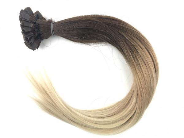Sibirische Keratin Extensions - glatt - Ombre mittelbraun / helles blond
