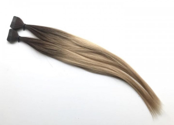 Asiatische Schnitthaar Tape Extensions - glatt - Dark Roots 3b/18b