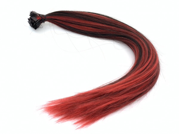 Sibirische Schnitthaar Extensions - glatt - 50cm - Farbe schwarz/rot gesträhnt
